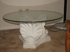 Very heavy porceland and glass coffee table