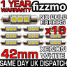 10x 42mm 3 SMD LED 264 C5W CANBUS ERROR FREE WHITE INTERIOR LIGHT FESTOON BULB