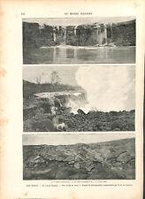 Volcan Kīlauea archipel d'Hawaï USA coulée de lave  ILLUSTRATION 1893