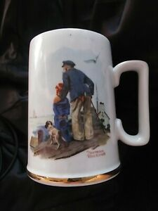 1985 Norman Rockwell ~ Looking Out To Sea ~ Coffee Cup Mug