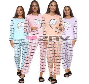 Ladies Cozy Cat Pyjama Set Cotton Rich Womens Long Sleeve PJ Nightwear M-XXL.