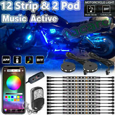 bluetooth 14pc Motorcycle Smart Color LED Light Kit Accent Glow Strip Underbody