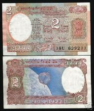 INDIA 2 RUPEES P79H 1985 SPACE CRAFT UNC RNM BILL WORLD CURRENCY BANK NOTE
