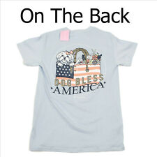 NWT Itsa Girl Thing Dog Bless America Blue T-Shirt Small