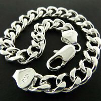 Mens Bracelet Bangle Real 925 Sterling Silver S/F Solid Chunky Bling Cuban Link
