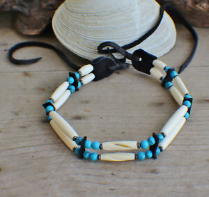 Native American Choker w/Blue Howlite 2std Cherokee made William Lattie Cert Aut