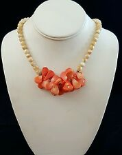 Necklace Coral Petals on Mother of Pearl with Sterling Accents Handcrafted USA