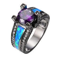 Purple Amethyst & Blue Fire Opal Wedding Ring Black Gold Filled Jewelry Size4-12