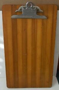 Vintage Gently-Used Globe Clip Wernicke Wood Clipboard Parquet Stripes