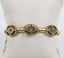 Victorian 14K Yellow Gold Diamond & Sapphire Bangle