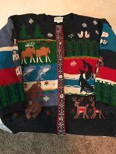 Susan Bristol Womens Large 1991 Vintage Hand Embroidered Wool Sweater Noahs Ark