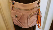 ROOTS Small Tribe Leather Lilac/Tan Color Crossbody Handbag Shoulder Purse Bag