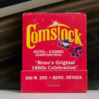 Rare Vintage Matchbook J1 Reno Nevada Comstock Hotel Casino Original 1880s Celeb