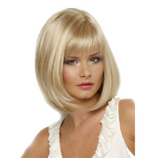 Women Ladies Straight Human Hair Blonde Golden Color Bobo Wigs Hair Decor AU