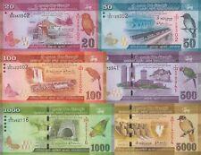 Sri Lanka 6 Note Set: 20-5000 Rupees (2015) - p124c,p125c,126d,p127c,p128c UNC