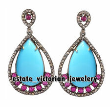 Antique Estate 4.25Cts Rose Cut Diamond Gemstone Studded Jewelry Silver Earring