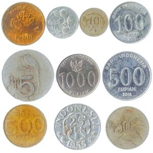 10 DIFFERENT COINS FROM INDONESIA. OLD MONEY, CURRENCY COLLECTION: RUPIAH, SEN
