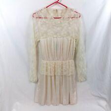 Free People Romantic Cream Lace Dress Size 8 Pleated Boho Fresh Victorian Style