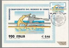 1999 ITALIA CARTOLINA MAXIMUM CAMPIONATO MONDO CANOA VELOCITA' CON ANNULLO FDC