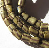 "29"" STRAND OF RARE WELL WORN SMALL STRIPED AFRICAN SAND CAST TRADE BEADS"