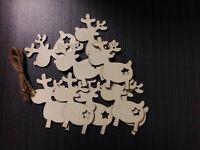 10pcs Christmas REINDEERS Star Wooden MDF Blanks Xmas Tree Hangers Craft Tags