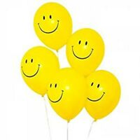 90s Party Decorations - 10 x Smiley Face Acid House Balloons