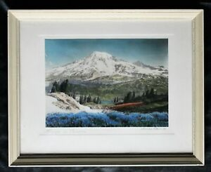 "Antique Tinted Photograph of Mt. Rainier ""Summer at Paradise"" by Noman Edson"
