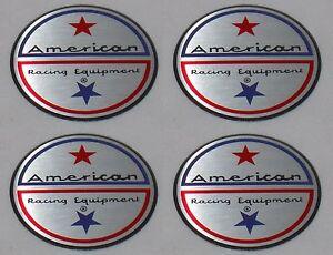 "4 - AMERICAN RACING WHEEL RIM CENTER CAP STICKER LOGO 1-3/4"" / 1.75"" / 44mm DIA"
