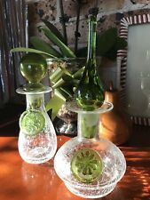 Vintage Blenko Crackled Art Glass Small Genie Bottles Chartreuse Green Detail