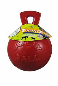 Jolly Pets Tug-N-Toss 8 inch Red | Rubber Ball with Handle Chew Toy for Dogs