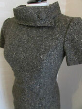 HOBBS ROLLED COLLAR DETAIL WOOL FULLY LINED DRESS - SIZE 10 - BROWN