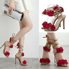 Women Floral Ankle Strappy Peep Toe Slingback Stilettos High heel Party Shoes AS