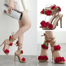 Women Floral Ankle Strappy Peep Toe Slingback Stilettos High heel Party Shoes OP