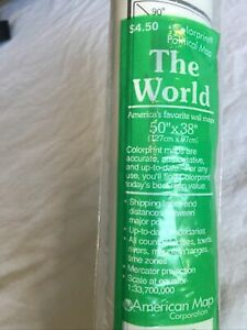 """Colorprint Map Of The World 1993 American Map Corporation NEW SEALED 50""""x38"""" HTF"""