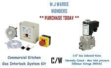 "Commercial Kitchen Gas Interlock System Kit c/w 1/2"" Gas Solenoid Valve - N/C"