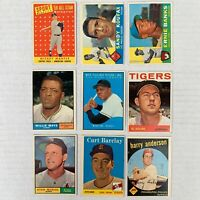 Lot (9) 1958-64 Topps Baseball HOF Flawed Mays Banks Koufax Mantle Kaline Musial