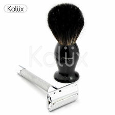 BUTTERFLY TWIST OPEN SAFETY RAZOR AND SHAVING BRUSH WET SHAVE KIT + FREE BLADES