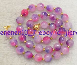 Beautiful 10mm Faceted Pink Multicolor Jade Round Gemstone Necklace 18 Inch Z456