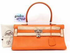 R2999 Auth HERMES orange Clemence Leder Schulter Kelly Bag □ N 2010 Silber HW