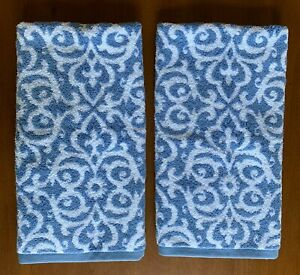 "Set of 2 Linea Casa Sferra Hand Towels Choose 17"" x 24"" or 20"" x 30"" Blue White"