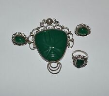 VINTAGE ANTIQUE MEXICO STERLING SILVER AND GREEN ONYX TOTEM JEWELRY SET