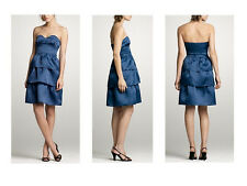 nwt J.CREW strapless DRESS silk organza BLUE sz 2 party cocktail tiered