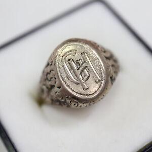 "Historischer ""GH"" Monogrammring 835 Silber Gr. 18"