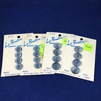 """VTG Le Bouton Italy Blue Two sizes 5/8""""  1/2"""" Two cards of each 4 count buttons"""