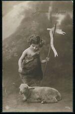 Child Boy Infant Saint John Baptist Sheep Goat original old 1910s photo postcard