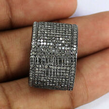 Victorian Estate 3.90cts Pave Rose Cut Diamond Silver Jewelry Eternity Band Ring
