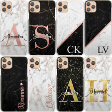 Personalised Initial Phone Case, Black Marble Hard Cover For Google/Asus/Oppo