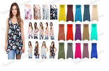 Ladies Plus Size Hanky Hem Womens Gathering Sleeveless Scoop Neck Vest Top 8-26