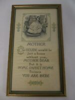 """VINTAGE BUZZA MOTHER JUST A HOUSE WITHOUT YOU FRAMED MOTTO PRINT 5 1/2"""" X 9 1/2"""""""