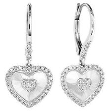 0.31ct DIAMOND HEART DANGLE DROP EARRINGS MATTE BRUSHED 14K WHITE GOLD